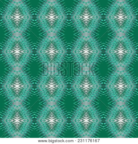 Seamless Pattern In Green And White Art Elements. Abstract Kaleidoscope Background. Symmetric Orname