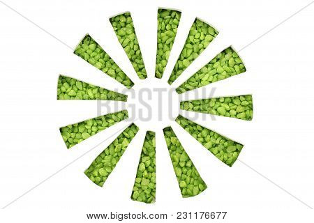 Green Stones Symbolize Arrows In A Circle With Direction To The Center