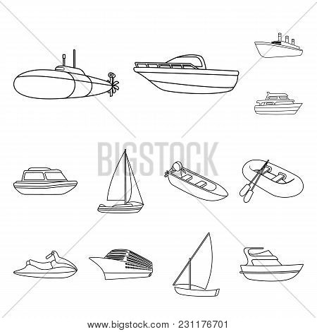 Water And Sea Transport Outline Icons In Set Collection For Design. A Variety Of Boats And Ships Vec