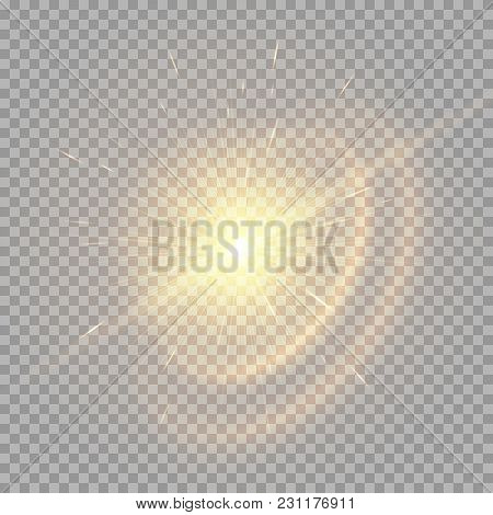 The Golden Star Glows On A Transparent Background. Vivid Vector Rays For Festive Decoration.