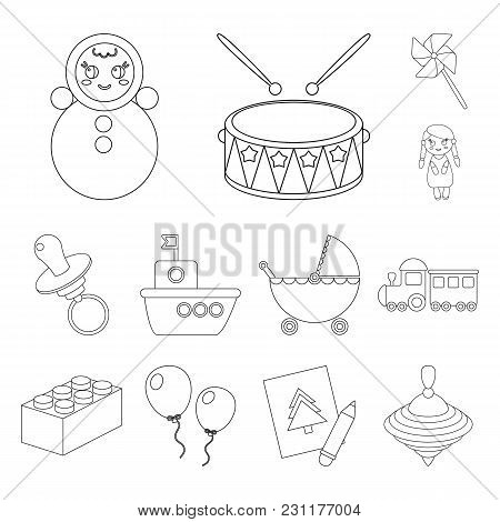 Children S Toy Outline Icons In Set Collection For Design. Game And Bauble Vector Symbol Stock Illus