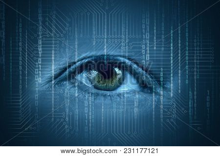 Human Eyes Watching The Flow Of Information. The Concept Of Monitoring And Control Data Flow.