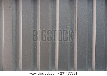 Metal Sheet Profile Surface. Close-up Of Gray Steel Panel
