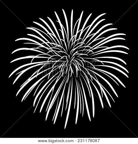 Fireworks On A Black Sky Background. Vector Illustration