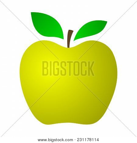Yellow Apple On A White Background. Vector Illustration