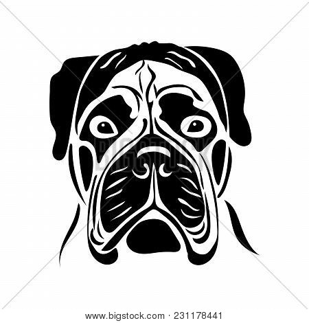 Portrait Of A Dog Of The Bullmastiff Breed. Vector Illustration