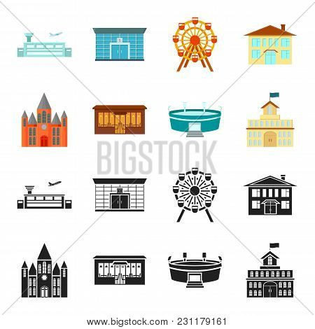 House Of Government, Stadium, Cafe, Church.building Set Collection Icons In Black, Cartoon Style Vec