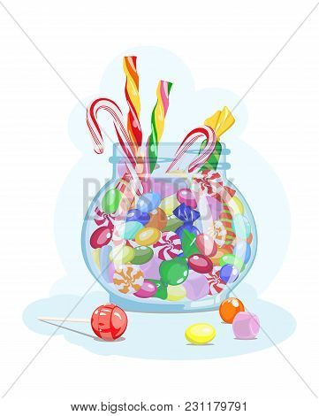 Vector Icon With Image Caramel, Marshmallow, Lollipop, Candy In Glass Jar On Blue Background. Candy