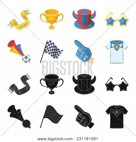 Pipe, Uniform And Other Attributes Of The Fans.fans Set Collection Icons In Black, Cartoon Style Vec