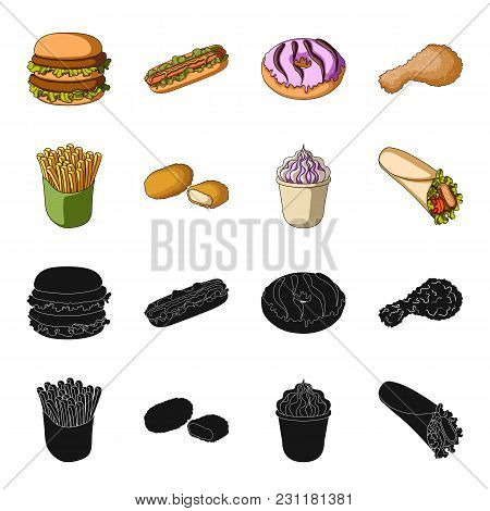 Food, Refreshments, Snacks And Other  Icon In Black, Cartoon Style.packaging, Paper, Potatoes Icons