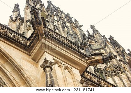 Czech Architecture, Scary Gargoyle Sculpture, Gothic Temple Decoration. Medieval Art, Mystic Gargoyl