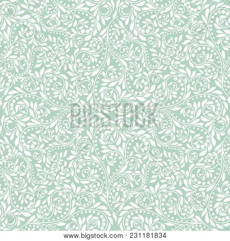 Wallpaper In The Style Of Baroque. A Seamless Vector Background. White And Blue Floral Ornament. Gra