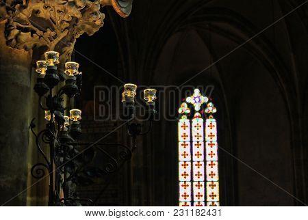 Czech Republic, Prague - September 21, 2017: Antique Vintage Candle Stand In Cathollic Church