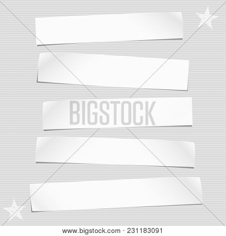 White Cut Out Note, Notebook Paper Pieces For Text Stuck On Lined Gray Background. Vector Illustrati