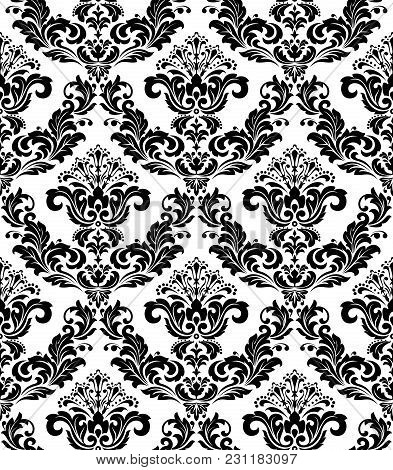 Wallpaper In The Style Of Baroque. A Seamless Vector Background. White And Black Floral Ornament. Gr