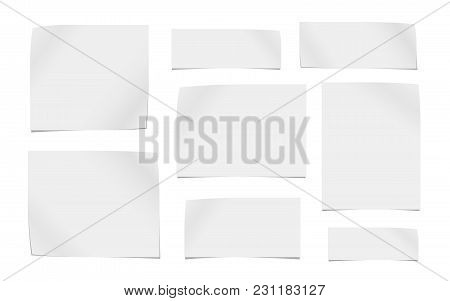 White Cut Out Note, Notebook Paper Pieces For Text Stuck On White Background. Vector Illustration