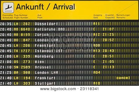 Arrival board at an airport