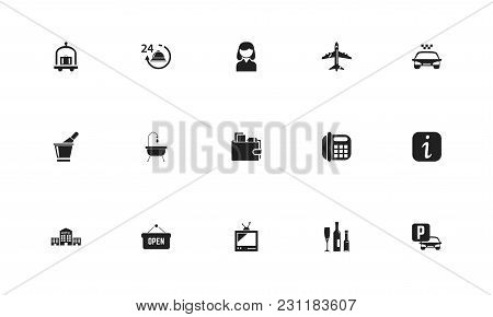 Set Of 15 Editable Plaza Icons. Includes Symbols Such As Bag, Television, Residence And More. Can Be