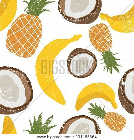 Beautiful Hand Drawn Pattern With Bananas, Coconuts, Pineapples. Seamless Vector Floral Pattern, Sum