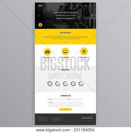 Yellow Website Design Template - Adaptive Modern Prototype Design Black And Yellow Color Background