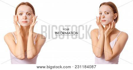 Beautiful Young Woman On Face Mask Beauty Set Pattern On White Background Isolation