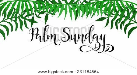 Palm Sunday. Happy Easter Lettering Card. Quote To Design Greeting Card, Poster, Banner, Printable W