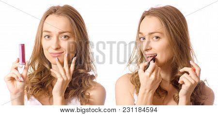 Beautiful Young Woman In The Hands Lipstick Beauty Set On White Background Isolation