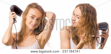 Beautiful Young Woman Hair Dryer In Hands Beauty Set On White Background Isolation