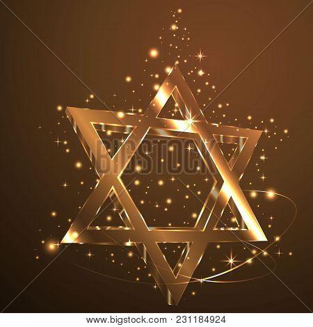 Brown Star Of David , Glass Jewish Symbol Abstract ,light .