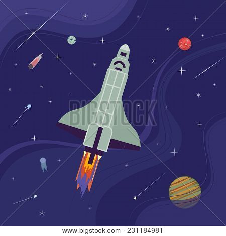 Rocket Flight Icon. Colorful Cartoon Style. Shuttle Launch. Spaceship Start Up To Outerspace Cosmos.