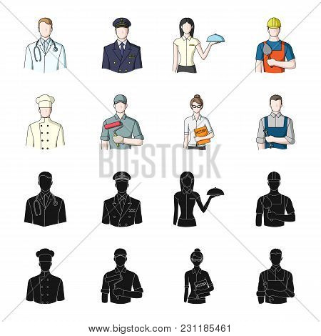 Cook, Painter, Teacher, Locksmith Mechanic.profession Set Collection Icons In Black, Cartoon Style V