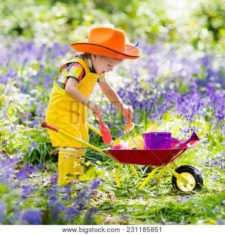 Kids In Bluebell Garden
