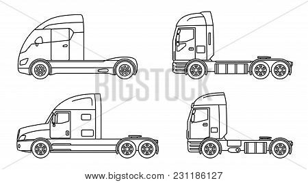 Big Commercial Semi Truck With Trailer. Trailer Truck In Flat Style Isolated. Delivery And Shipping