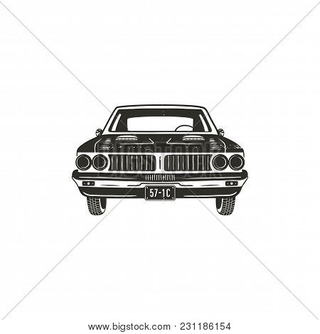 Vintage Hand Drawn Muscle Car. Retro Car Symbol Design. Classic Car Emblem Isolated On White Backgro
