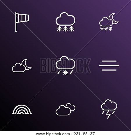 Air Icons Line Style Set With Snowfall, Moonshine, Thunderstorm And Other Snowfall Elements. Isolate