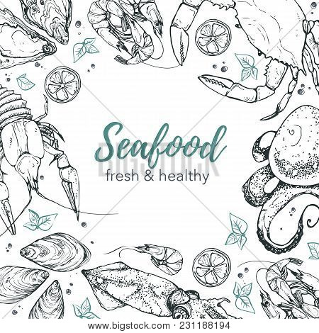 Square Frame Composition From Hand Drawn Seafood In Sketch Style. Vector Illustration For Restaurant