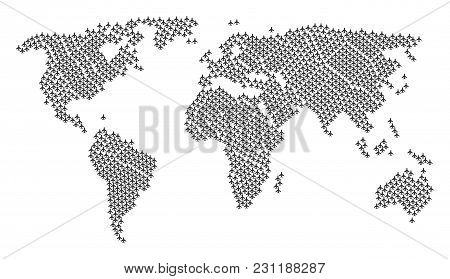 Continent Atlas Mosaic Done Of Air Plane Pictograms. Vector Air Plane Design Elements Are Combined I