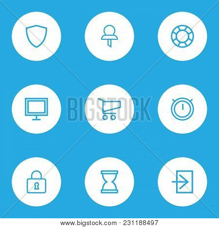 Interface Icons Line Style Set With Shield, Monitor, Second Meter And Other Hourglass Elements. Isol