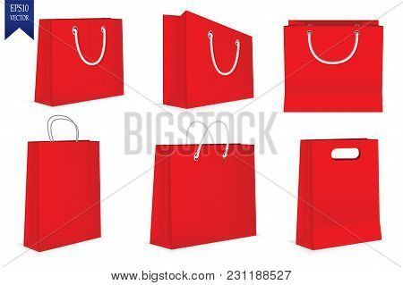 Set Of Red Gift Bags Isolated On White Background. Vector Illustration. Eps 10