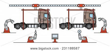 Thin Line Style Truck Assembly Line. Automatic Transport Production Conveyor. Robotic Truck Machiner