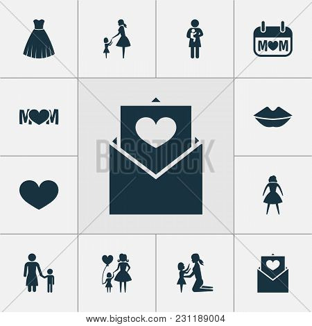 Mothers Day Icon Design Concept. Set Of 12 Such Elements As Woman, Envelope And Daughter. Beautiful