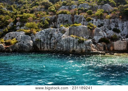 Sunken City Of Kekova Island In Turkey. Sights Of Antalya Province, View From The Sea