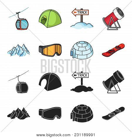 Mountains, Goggles, An Igloo, A Snowboard. Ski Resort Set Collection Icons In Black, Cartoon Style V