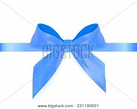 Decorative Blue Bow With Blue Ribbon Isolated On White. 3d Realistic Vector Illustration. Eps10