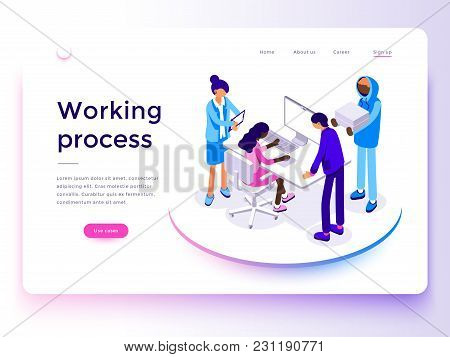 People Work In A Team And Achieve The Goal. Business Processes And Office Situations. Landing Page T
