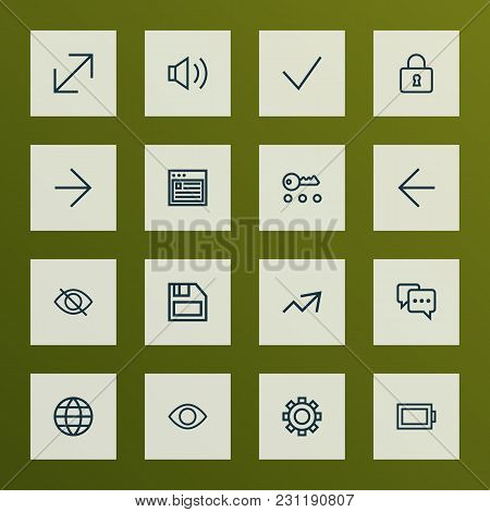 Interface Icons Line Style Set With Earth, Note, Increase And Other Lock Elements. Isolated  Illustr