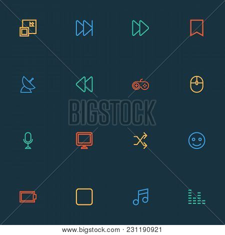 Media Icons Line Style Set With Next, Communication Antenna, Shuffle And Other Musical Note Elements