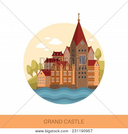 Cartoon Castle Or Fortification Outdoor View. Palace Facade Or Architecture Of Fortress Building, St