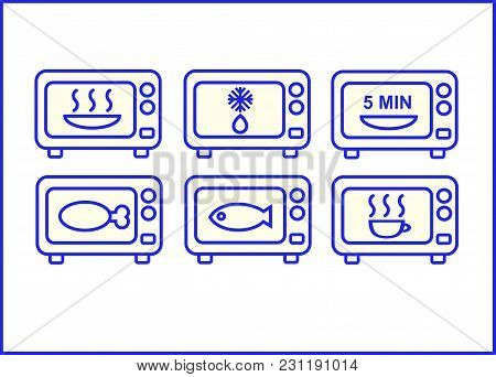 Icons With Instructions For Cooking With A Microwave Oven