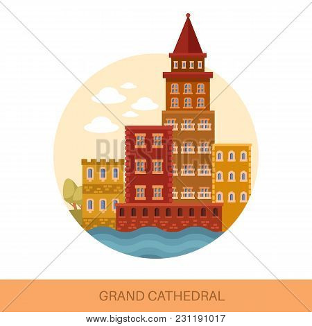 Landscape With Grand Cathedral Or Medieval Catholic Church, Old European Building Or Antique Gothic